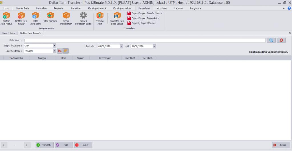 Tutorial Membuat Transfer itemSatu Database beda Gudang